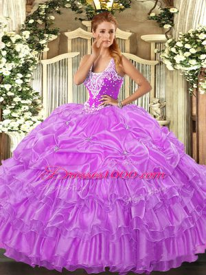 Straps Sleeveless Lace Up Quinceanera Dresses Lilac Organza