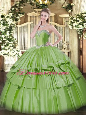 Artistic Yellow Green Ball Gowns Beading and Ruffled Layers 15th Birthday Dress Lace Up Organza and Taffeta Sleeveless Floor Length