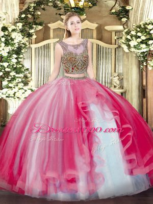 Eye-catching Floor Length Two Pieces Sleeveless Coral Red 15 Quinceanera Dress Lace Up