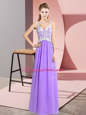 Wonderful Lavender Empire Lace Prom Gown Zipper Chiffon Sleeveless Floor Length