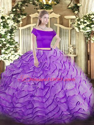 Amazing Lavender Off The Shoulder Neckline Appliques and Ruffles Sweet 16 Dresses Short Sleeves Zipper