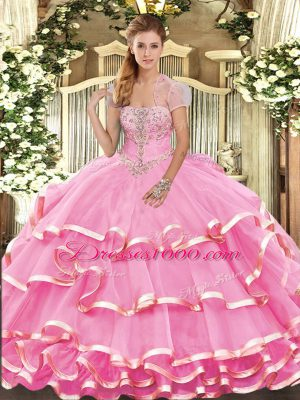 Admirable Rose Pink Sweet 16 Dresses Military Ball and Sweet 16 and Quinceanera with Appliques and Ruffled Layers Strapless Sleeveless Lace Up