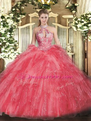 Sexy Halter Top Sleeveless Quinceanera Dresses Floor Length Beading and Ruffles Coral Red Organza