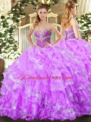 New Style Lilac Sweetheart Neckline Beading and Ruffled Layers Sweet 16 Dresses Sleeveless Lace Up