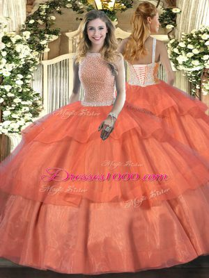Superior Orange Red Sweet 16 Dress Military Ball and Sweet 16 and Quinceanera with Beading and Ruffled Layers High-neck Sleeveless Lace Up