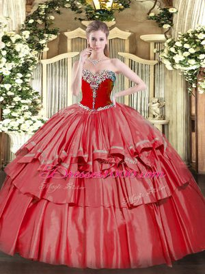 Popular Coral Red Ball Gowns Organza and Taffeta Sweetheart Sleeveless Beading and Ruffled Layers Floor Length Lace Up Quinceanera Dresses
