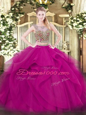 Fantastic Fuchsia Two Pieces Scoop Sleeveless Tulle Floor Length Lace Up Beading and Ruffles Sweet 16 Dress