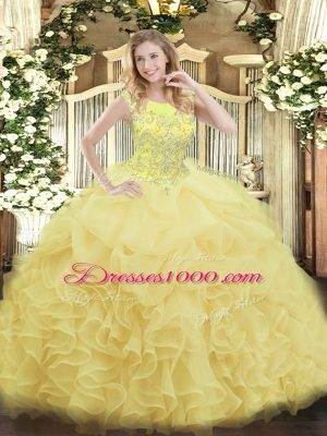 Popular Yellow Zipper Scoop Beading and Ruffles Sweet 16 Dresses Organza Sleeveless