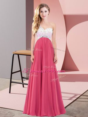 Top Selling Sleeveless Floor Length Beading Criss Cross Womens Party Dresses with Coral Red