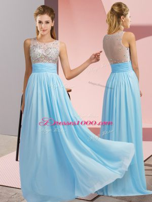 Aqua Blue Empire Beading Prom Gown Side Zipper Chiffon Sleeveless Floor Length