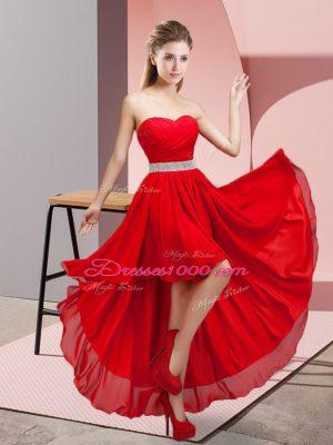 Wine Red Chiffon Lace Up Sweetheart Sleeveless High Low Evening Dress Beading