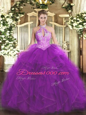 Best Purple Sweet 16 Quinceanera Dress Military Ball and Sweet 16 and Quinceanera with Ruffles and Sequins Halter Top Sleeveless Lace Up