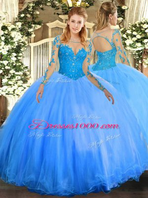 New Arrival Baby Blue Lace Up Scoop Lace Quinceanera Gowns Tulle Long Sleeves