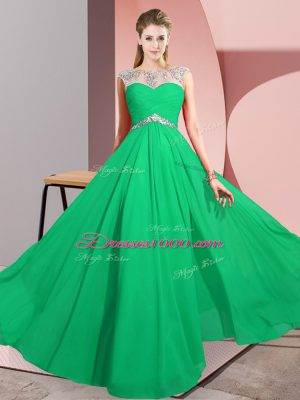 Sophisticated Chiffon Sleeveless Floor Length Party Dress for Girls and Beading