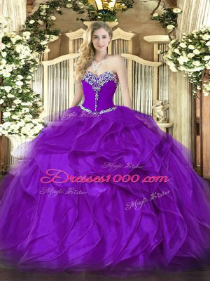 Organza Sweetheart Sleeveless Lace Up Beading and Ruffles Sweet 16 Dress in Purple