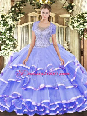 Admirable Sleeveless Clasp Handle Floor Length Beading and Ruffled Layers Quinceanera Dresses