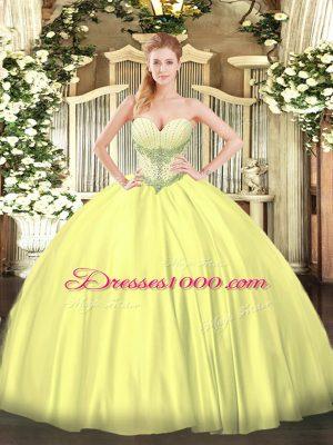 Nice Yellow Lace Up 15 Quinceanera Dress Beading Sleeveless Floor Length