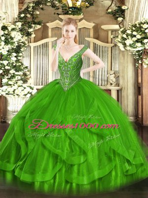 Ball Gowns Tulle V-neck Sleeveless Beading and Ruffles Floor Length Lace Up Ball Gown Prom Dress