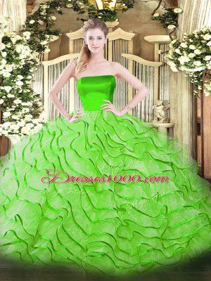 Extravagant Sleeveless Brush Train Ruffles Sweet 16 Dresses