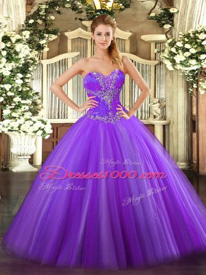 Hot Selling Eggplant Purple Sweetheart Lace Up Beading 15th Birthday Dress Sleeveless
