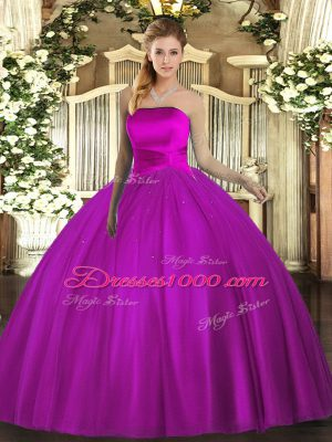 Sleeveless Lace Up Floor Length Ruching Sweet 16 Dress