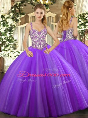 Beauteous Lavender Sleeveless Beading and Appliques Floor Length Sweet 16 Dress