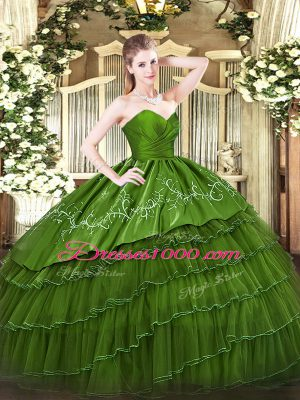 Custom Designed Organza and Taffeta Sweetheart Sleeveless Zipper Embroidery and Ruffled Layers Quinceanera Dress in Green