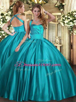 Deluxe Teal Ball Gowns Satin Halter Top Sleeveless Ruching Floor Length Lace Up Little Girl Pageant Gowns