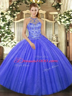 Hot Sale Blue Quinceanera Gowns Military Ball and Sweet 16 and Quinceanera with Beading and Embroidery Halter Top Sleeveless Lace Up
