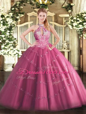 Noble Sleeveless Tulle Floor Length Lace Up Quinceanera Gown in Hot Pink with Lace and Appliques