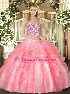 Sleeveless Floor Length Beading and Ruffles Lace Up Ball Gown Prom Dress with Coral Red