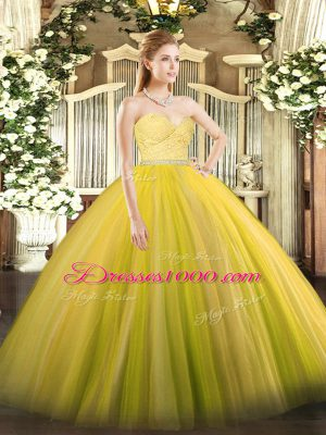 Modest Sleeveless Floor Length Beading and Lace Zipper 15 Quinceanera Dress with Gold