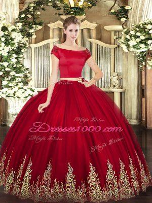 Short Sleeves Zipper Floor Length Appliques Quinceanera Gowns