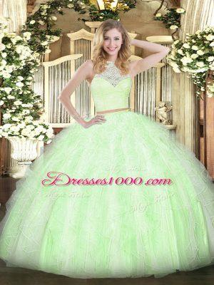Custom Design Yellow Green Scoop Neckline Lace and Ruffles Quinceanera Dress Sleeveless Zipper