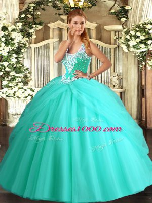 Apple Green Ball Gowns Straps Sleeveless Tulle Floor Length Lace Up Beading and Pick Ups Quinceanera Gown