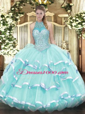 Excellent Apple Green Lace Up Quinceanera Gown Beading and Ruffled Layers Sleeveless Floor Length