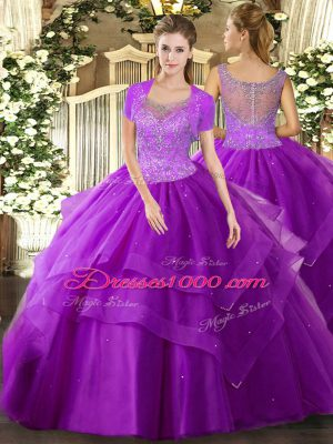 Eggplant Purple 15 Quinceanera Dress Military Ball and Sweet 16 and Quinceanera with Beading and Ruffles Scoop Sleeveless Clasp Handle