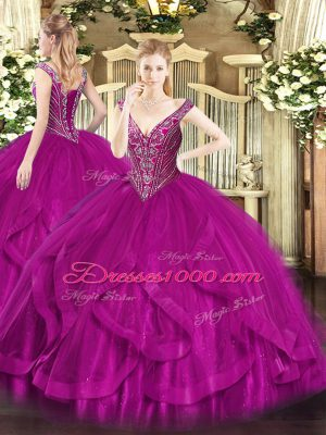 Comfortable Fuchsia Lace Up Quinceanera Dresses Beading and Ruffles Sleeveless Floor Length