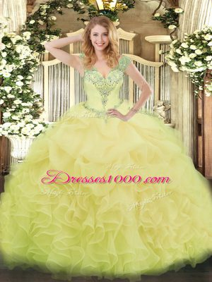 Yellow V-neck Neckline Beading and Ruffles and Pick Ups Quinceanera Gowns Sleeveless Lace Up