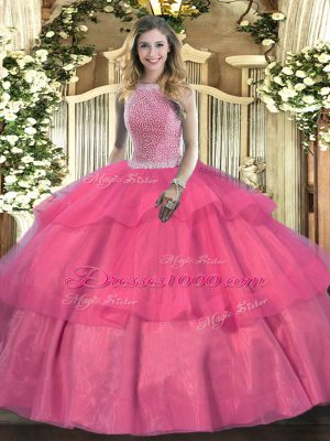 Free and Easy Hot Pink Tulle Lace Up High-neck Sleeveless Floor Length Quinceanera Dress Beading and Ruffled Layers