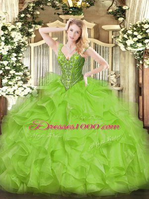 Best Floor Length 15th Birthday Dress Organza Sleeveless Beading and Ruffles