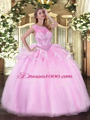 High Quality Sleeveless Organza Floor Length Zipper Quinceanera Dress in Pink with Beading