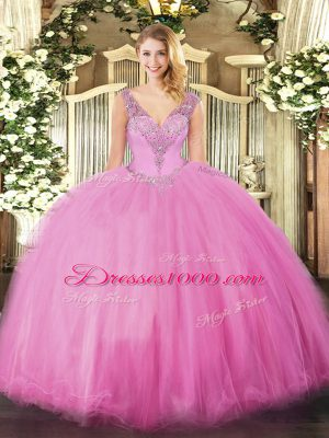 Luxury Rose Pink Lace Up Sweet 16 Quinceanera Dress Beading Sleeveless Floor Length