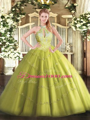 Yellow Green Lace Up Halter Top Beading Quinceanera Dress Tulle Sleeveless