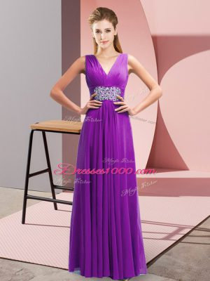 Trendy Purple Chiffon Side Zipper Prom Dresses Sleeveless Floor Length Beading and Ruching