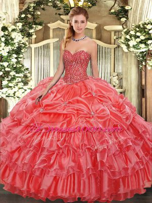 Coral Red Sweetheart Neckline Beading and Ruffles and Pick Ups Vestidos de Quinceanera Sleeveless Lace Up
