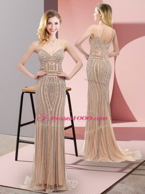 Graceful Zipper Party Dresses Champagne for Prom and Party with Beading Sweep Train