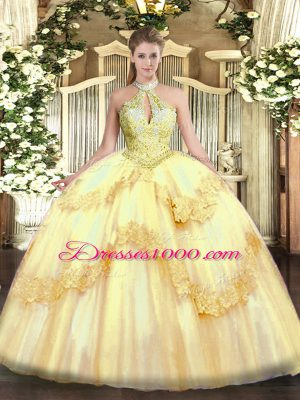 Artistic Sleeveless Floor Length Appliques and Sequins Lace Up 15 Quinceanera Dress with Gold