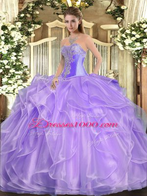 Enchanting Lavender Quince Ball Gowns Military Ball and Sweet 16 and Quinceanera with Beading and Ruffles Sweetheart Sleeveless Lace Up