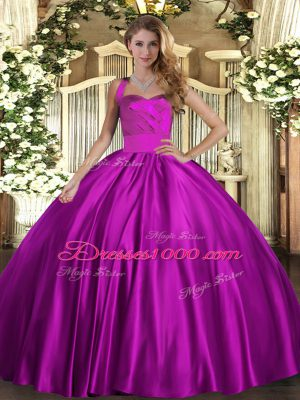Stylish Satin Halter Top Sleeveless Lace Up Ruching Sweet 16 Quinceanera Dress in Fuchsia